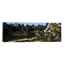 Panoramic Statues in a Temple, Neak Pean, Angkor, Cambodia Photographic Print on Canvas