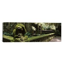 Panoramic Statue of a Monkey in a Temple, Bathing Temple, Ubud Monkey Forest, Ubud, Bali, Indonesia Photographic Print on Canvas