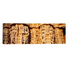 Panoramic Sculptures Carved on a Wall of a Temple, Jain Temple, Ranakpur, Rajasthan, India Photographic Print on Canvas