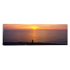 Panoramic Sunset over a Lake, Lake Michigan, Chicago, Cook County, Illinois Photographic Print on Canvas