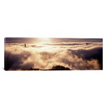 Panoramic Suspension Bridge Covered with Fog Viewed from Hawk Hill, Golden Gate Bridge, San Francisco Bay, California Photographic Print on Canvas