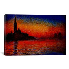 'Sunset' by Claude Monet Painting Print on Canvas