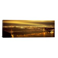 Panoramic Suspension Bridge Lit up at Dusk, Golden Gate Bridge, San Francisco, California Photographic Print on Canvas