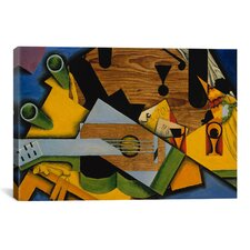 'Still Life with a Guitar, 1913' by Juan Gris Painting Print on Canvas