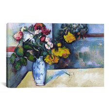'Still Life: Flowers in a Vase' by Paul Cezanne Painting Print on Canvas