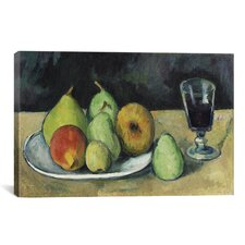 'Verre Et Poires 1879-1880' by Paul Cezanne Painting Print on Canvas