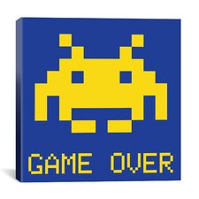 Space Invader - Game Over (Blue and Yellow) Canvas Wall Art