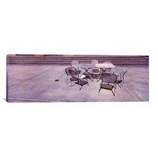 Panoramic Tables with Chairs on a Street, San Jose, Santa Clara County, California Photographic Print on Canvas