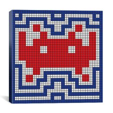 Space Invader - Patriotic Invader Tile Art (Red, White, and Blue) Canvas Wall Art