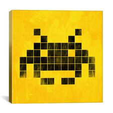 Space Invader - Brushed Cube Invader Art (Black and Yellow) Canvas Wall Art