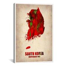 """South Korea Watercolor Map"" Canvas Wall Art by Naxart"