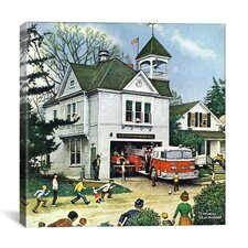 """The New American LaFrance is Here (Firehouse)"" by Norman Rockwell Painting Print on Canvas"
