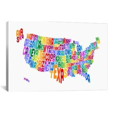 """(States) Typographic Map IV"" by Michael Thompsett Textual Art on Canvas"
