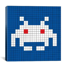 Space Invader - White Invader Tile Art (White and Blue) Canvas Wall Art