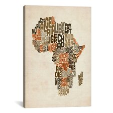 """""""Typography (Countries) Mapof Africa"""" by Michael Thompsett Textual Art on Canvas"""