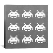 Space Invaders - White Invaders (White and Grey) Canvas Wall Art