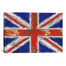 'UK Vintage' Wood Canvas Print Wall Art
