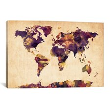 """Urban Watercolor World Map VI"" by Michael Thompsett Painting Print on Canvas"
