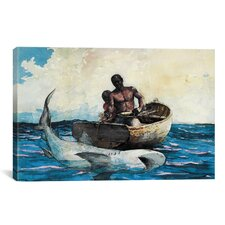 'Shark Fishing 1885' by Winslow Homer Painting Print on Canvas