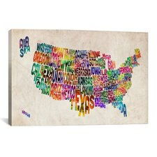 'Typographic Text (States) Map' by Michael Thompsett Graphic Art on Canvas