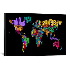 'Typographic Text World Map II (Black)' by Michael Thompsett Graphic Art on Canvas