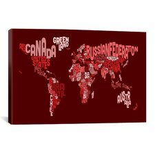 'Typographic Text World Map III (Red)' by Michael Thompsett Graphic Art on Canvas