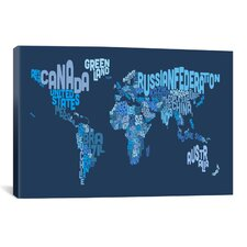 'Typographic Text World Map IV (Blue)' by Michael Thompsett Graphic Art on Canvas