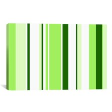 Sour Apple Green Striped Graphic Art on Canvas