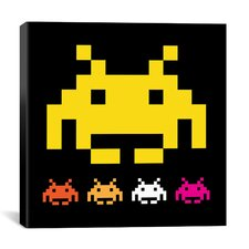Space Invaders - Big Yellow Invader Canvas Wall Art