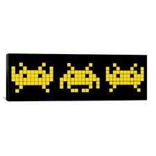 Space Invaders Trio (Black and Yellow) Graphic Art on Canvas