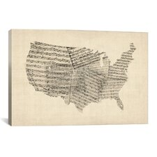 'United States Sheet Music Map' by Michael Tompsett Graphic Art on Canvas