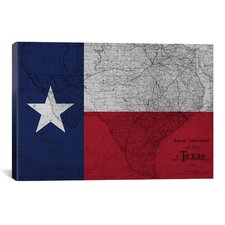 Flags Texas Map Graphic Art on Canvas