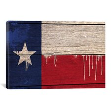 Flags Texas Wood Planks with Paint Drips Graphic Art on Canvas
