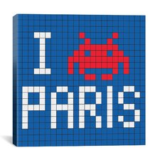 Space Invader - I Invade Paris Tile Art Blue Canvas Wall Art