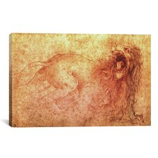 'Sketch of a Roaring Lion' by Leonardo da Vinci Painting Print on Canvas