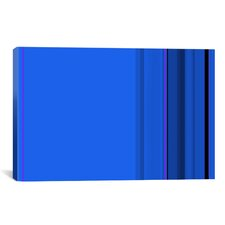 True Blue Striped Graphic Art on Canvas