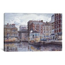 """Tugboats And Tenements"" Canvas Wall Art by Stanton Manolakas"
