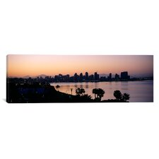 Panoramic Silhouette of Buildings at the Waterfront, San Diego, San Diego Bay, San Diego County, California Photographic Print on Canvas