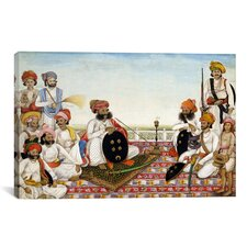 Thakur Dawlat Singh Among Courtiers Painting Print on Canvas