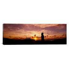 Panoramic Tahai Archaeological Site, Rano Raraku, Easter Island, Chile Photographic Print on Canvas