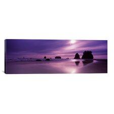 Panoramic Silhouette of Seastacks at Sunset, Second Beach, Washington State Photographic Print on Canvas