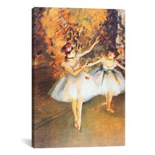 'Two Dancers on Stage (Alla Barra)' by Edgar Degas Painting Print on Canvas