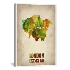 London Watercolor Map I by Naxart Graphic Art on Canvas