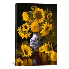 """Sunflowers in Blue and White Chinese Vase"" Canvas Wall Art by Christopher Pierce"