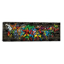 Marvel Comics Character Lineup Comic Logo Panoramic Graphic Art on Canvas