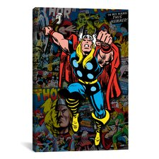 Marvel Comics Thor Covers Collage #2 Graphic Art on Canvas