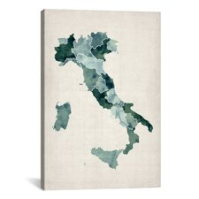 'Watercolor Map of Italy' by Michael Thompsett Graphic Art on Canvas