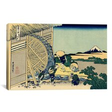 'Watermill at Onden' by Katsushika Hokusai Painting Print on Canvas