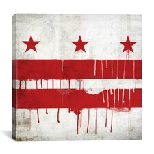 Flags Washington, D.C Paint Drips with Paper Grunge Graphic Art on Canvas