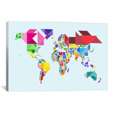 """Tangram Abstract World Map"" by Michael Thompsett Graphic Art on Canvas"